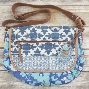 Fossil Blue Floral Canvas Messenger Bag